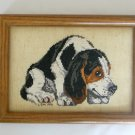 Basset hound dog black white brown completed cross stitch