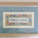 Welcome to your home flower blue mat completed cross stitch