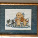 Grey white kitty cat and brown puppy dog in basket completd cross stich
