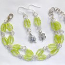 Clover Lime Green Trans Luster Hex Seed Bead Bracelet & Charm Earrings