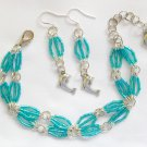 Dolphin Aqua Blue Luster Hex Glass Bead Bracelet and Charm Earrings