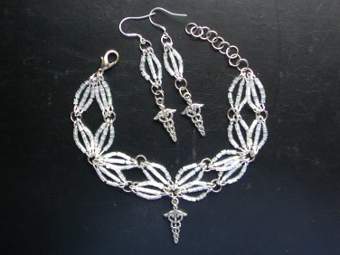 Caduceus Medical Charm Glass Bead Bracelet Earrings Pendant Nurse Set