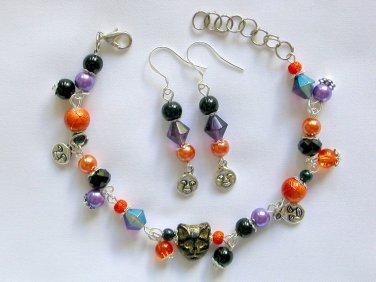 Czech Cat Bead Moon Charm Orange Black Purple Bracelet