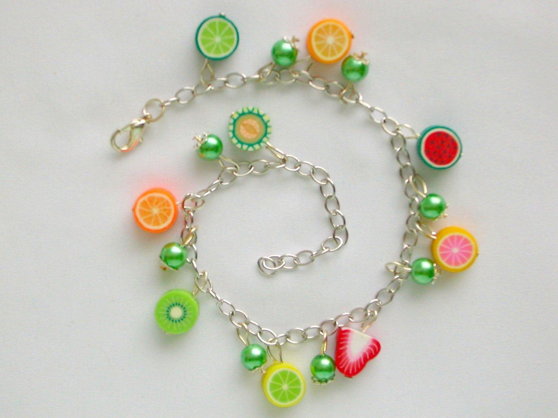 Fruit Vegetarian Vegan Strawberry Orange Lime Charm Anklet Bracelet