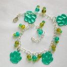 Green Animal Paw Print Charm Crackle Glass Bead Anklet Bracelet