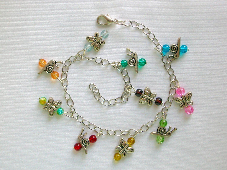 Butterfly Snail Rainbow Color Crackle Glass Bead Anklet Bracelet