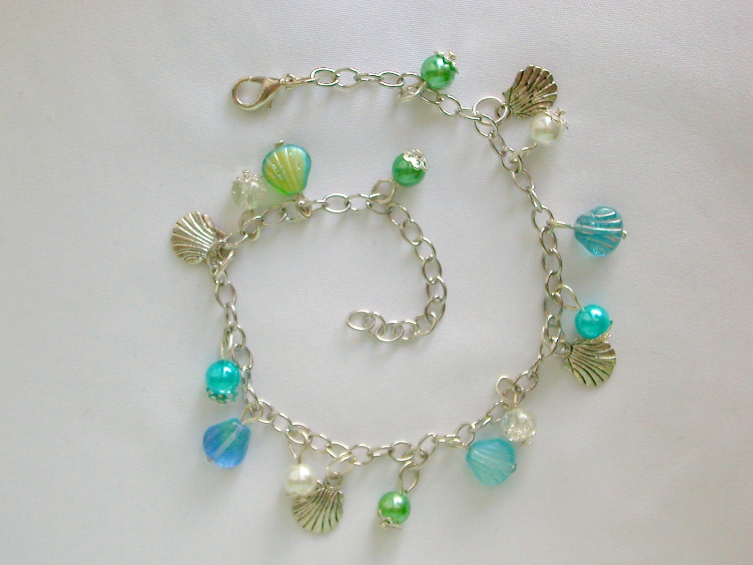 Czech Sea Shell Glass Bead Blue Green Aqua Charm Anklet Bracelet