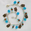 Flip Flop Brass Charm Brown Blue Glass Bead Anklet Bracelet