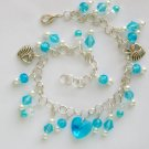 Crystal Glass Faceted Heart Aqua Blue Bead Charm Anklet Bracelet