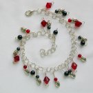Ladybug Red Black Glass Bead Lucky Good Luck Anklet Bracelet