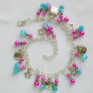 Hello Kitty Cat Glass Bead Aqua Blue Pink Star Charm Anklet Bracelet