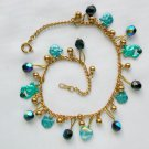 Cat Painted Aqua Blue Iridescent Black Crystal Charm Anklet