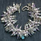 Angel Light Purple Rondelle Crystal Bead Charm Bracelet
