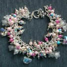 Flower and Crystal Clear AB Butterfly Bead Light Pink Bracelet