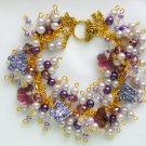 Crystal Butterfly Purple Glass Bead Cha Cha Charm Bracelet