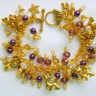 Cat Rondelle Crystal Bead Yellow Purple Gold Cha Cha Charm Bracelet