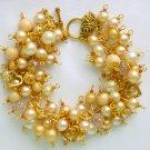 Vintage Beads Light Peach White Gold Heart Cha Cha Charm Bracelet