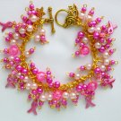 Pink Fuchsia Ribbon Breast Cancer Awareness Gold Tone Bracelet