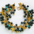 Medical Caduceus Nurse Doctor Black Aqua AB Charm Bracelet