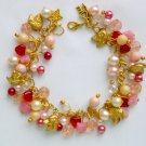 Dog Pink Red Butterfly Bead Gold Tone Charm Bracelet