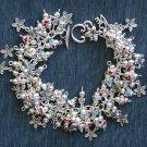 Flower Butterfly Snail Bead Silver Tone Cha Cha Charm Bracelet