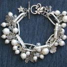 Vintage White Beads Chunky Chain Butterfly Dragonfly Charm Bracelet