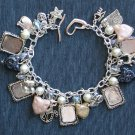 Cat Lover Glass Bead Picture Photo Frame Charm Bracelet