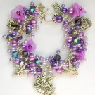Fairy Princess Angel Trumpet Flower Purple Pearl Charm Bracelet