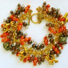 Cat Orange Brown Crackle Glass Bead Cha Cha Charm Bracelet