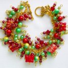 Butterfly Christmas Red Green Cha Cha Charm Bracelet