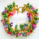 Pink Purple Bell Flower Green Pearl Bead Cha Cha Bracelet