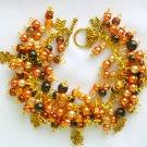 Four Leaf Clover Peach Brown Lucky Charm Bracelet