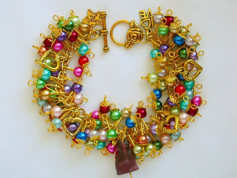 Rainbow Bead Czech Purple Cat Heart Gold Tone Charm Bracelet