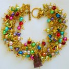 Rainbow Bead Czech Purple Cat Heart Gold Tone Charm Bracelet