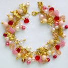Cat Red Pink Czech Butterfly Bead Gold Tone Charm Bracelet