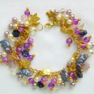 Purple Cat Czech Butterfly Bead Gold Tone Charm Bracelet