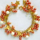 Medical Caduceus Nurse Doctor Peach Pearl Bead Charm Bracelet