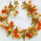 Fairy Girl Orange Glass Pearl Bead Cha Cha Charm Bracelet