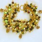 Four Leaf Clover Light Brown Green Charm Bracelet