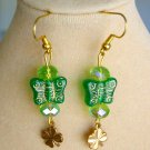 Czech Butterfly Four Leaf Clover Green Lime Crystal Charm Earrings