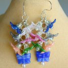 Flower Pink White Blue Czech Butterfly Bead Cluster Earrings