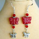 Red Pressed Czech Glass Butterfly Bead Silver Charm Earrings