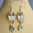 Butterfly Czech Bead and Clover Smoky Gray Crystal Charm Earrings