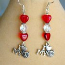 Love My Cat Charm Red Glass Heart Crystal Bead Earrings