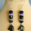 Black Dog Rondelle Crystal Bead Purple Charm Earrings