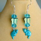 Cat and Czech Butterfly Bead Aqua Blue Iridescent Crystal Charm Earrings