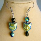Iridescent AB Green Blue Czech Glass Cat Face Black Bead Earrings