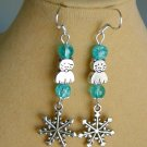Cat Snowflake Charm Aqua Blue Crackle Bead Earrings