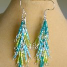 Luster Glass Hex Bugle Bead Blue Teal Green Dangle Earrings