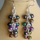 Iridescent AB Faceted Black Brown Bead Cha Cha Earrings